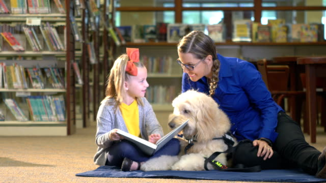 Meisje lezen in bibliotheek met therapie hond