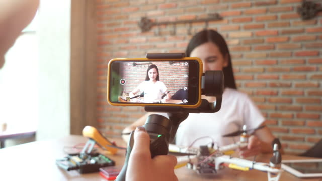 Girl recording video for showing DIY and product information