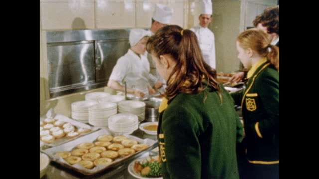 montage girl recruits look at the mess hall of a womens royal army corps base / uk - canteen stock videos & royalty-free footage