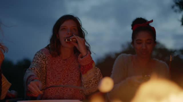 vídeos y material grabado en eventos de stock de ms slo mo. girl roasts marshmallow over fire and eats smores with friends on camping trip. - 16 17 años