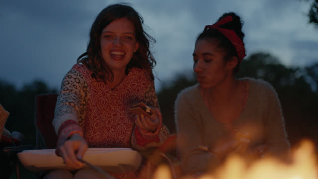 ms slo mo. girl roasts marshmallow over fire with friend on camping trip. - lagerfeuer stock-videos und b-roll-filmmaterial