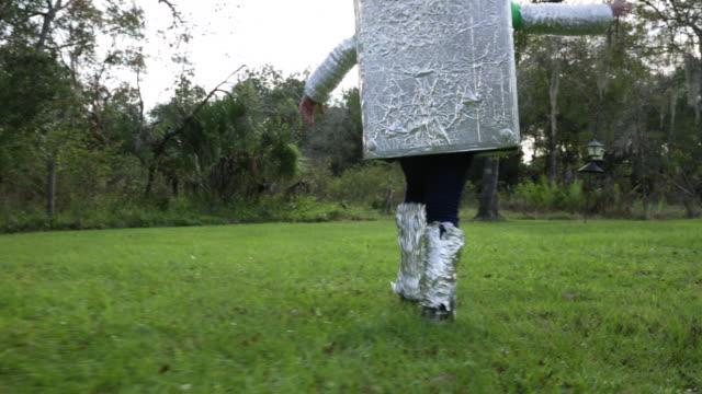 TS Girl robot walking away from camera.