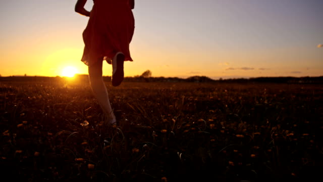 slo mo の少女を実行、ジャンプ、夕暮れ時の草原 - 少女点の映像素材/bロール