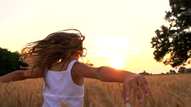 hd super slow-motion: girl running in field at sunset - arms outstretched stock videos and b-roll footage