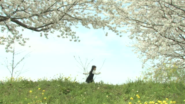 girl running in park in spring - embankment stock videos and b-roll footage