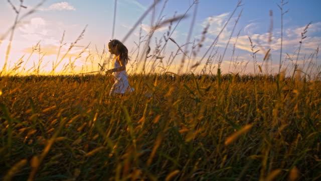 slo mo ガールのランニングの草地 - 草地点の映像素材/bロール