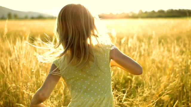 ms ts slo mo girl running in the meadow - blonde hair stock videos & royalty-free footage