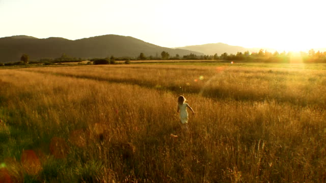 aerial girl running in the sunset - meadow stock videos & royalty-free footage
