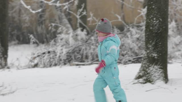 Girl running on snow