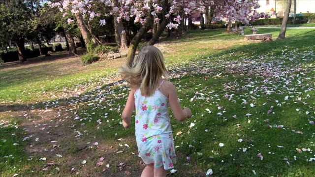 ws ds cu girl (8-9) running toward magnolia tree, smelling flower, vrhnika, slovenia - vrhnika stock videos and b-roll footage