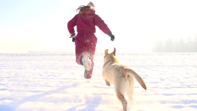 stockvideo's en b-roll-footage met slo mo girl running with a puppy in snow - activiteit