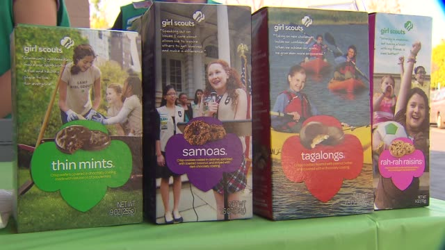 ktla girl scouts selling cookies outside of vons in south pasadena - biscuit stock videos & royalty-free footage