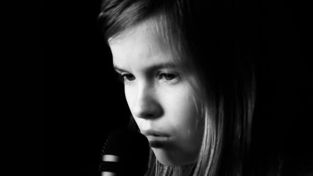 Girl sings a song