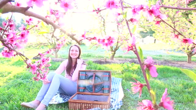 vídeos de stock, filmes e b-roll de girl sitting and enjoying picnic time during spring season between the blooming pink trees in the catalonia countryside with a candid, natural moment, warm colors and light. - prato de plástico