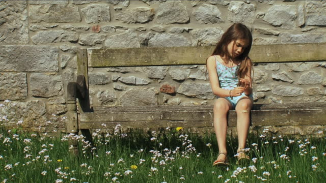 ws girl (6-7) sitting in front of house with flower, marchin, belgium - nur kinder stock-videos und b-roll-filmmaterial