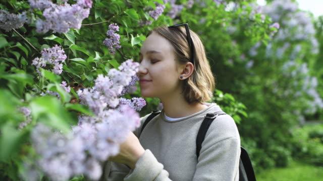 春の公園で花の香りを嗅ぐ女の子 - 人間の鼻点の映像素材/bロール
