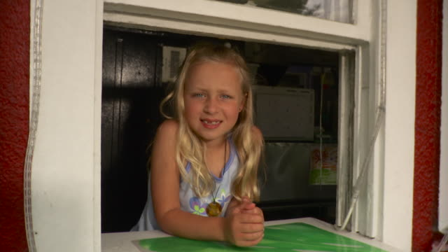 ms girl (8-9) smiling at snack bar window / stowe, vermont, usa - stowe vermont stock videos & royalty-free footage