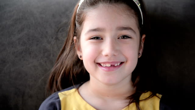 girl smiling. close up. - children only stock videos & royalty-free footage