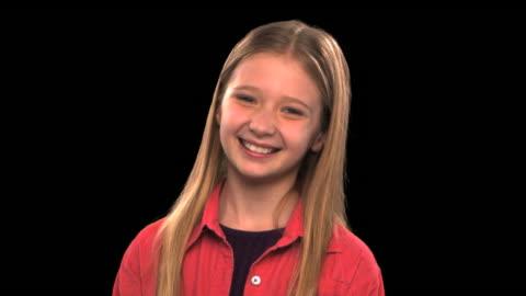 vídeos y material grabado en eventos de stock de girl smiling - this clip has an embedded alpha-channel - keyable