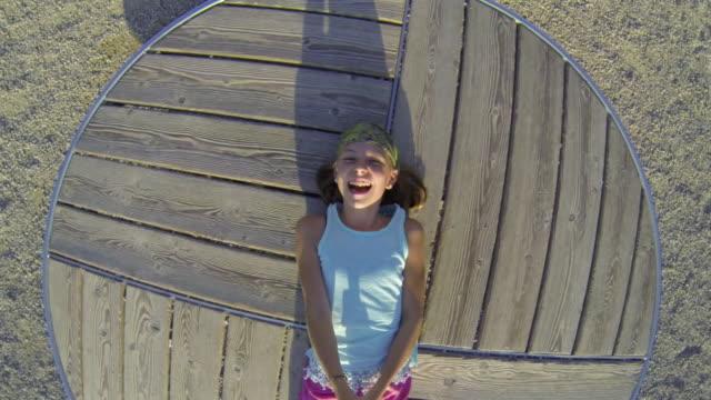 Girl spinning around