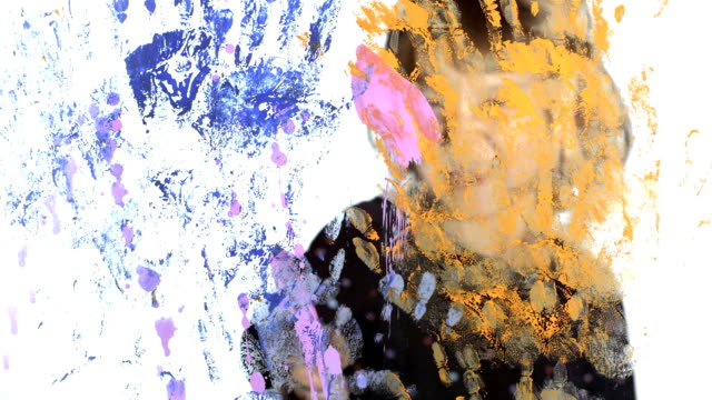 hd: girl splashing color on a glass - paintings stock videos and b-roll footage