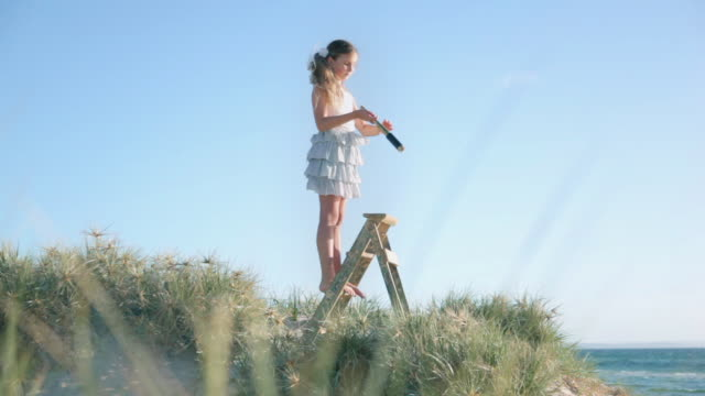 ws girl standing on ladder looking through telescope at beach / melbourne, victoria, australia - girls wearing see through clothes stock videos and b-roll footage