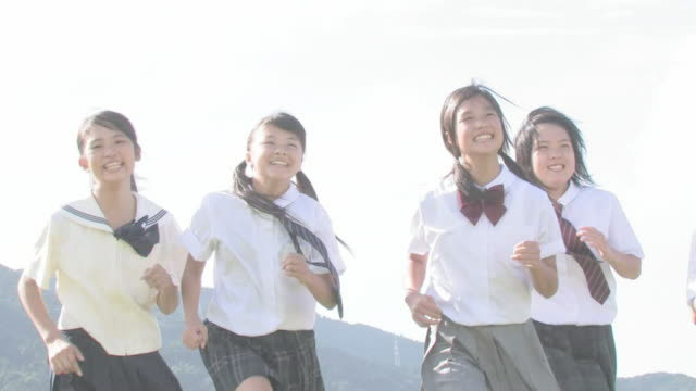 girl student running - japanese school uniform stock videos & royalty-free footage