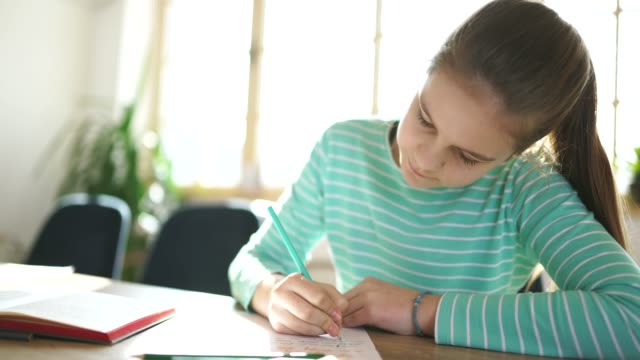 girl student studying alone at home - back to school stock videos & royalty-free footage