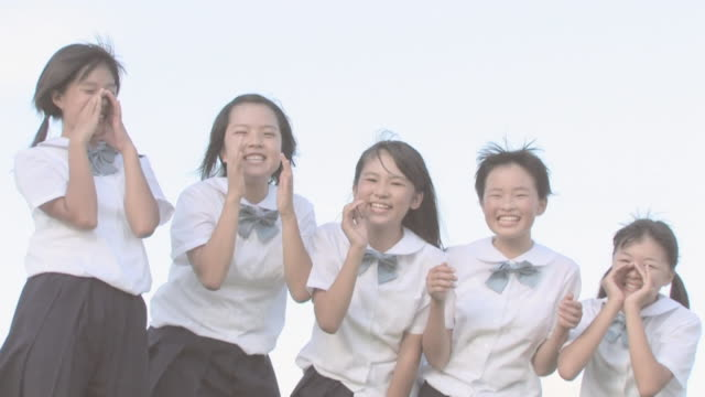 girl students shouting - japanese school uniform stock videos & royalty-free footage