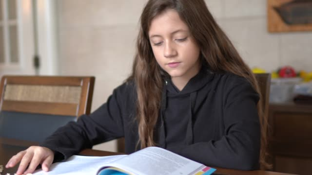 vídeos de stock, filmes e b-roll de garota estudando e lendo um livro em casa - livro
