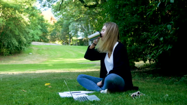 girl studying in a park - girl cross legged stock videos & royalty-free footage