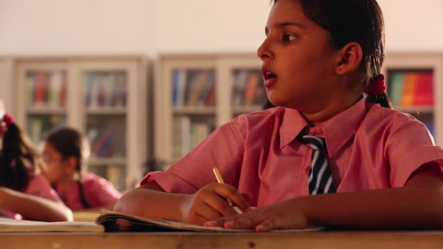 Girl studying in the classroom, Delhi, India