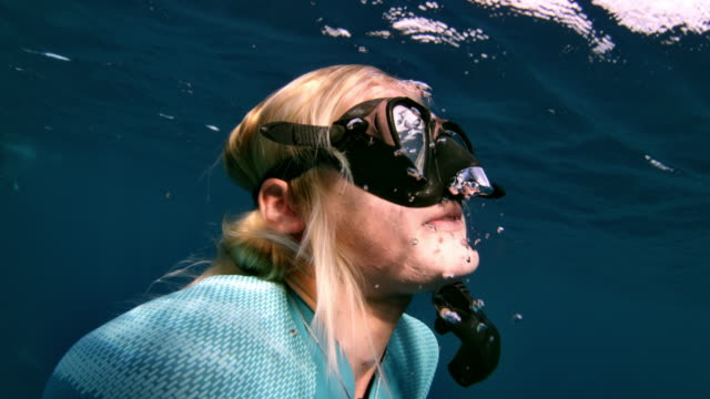 stockvideo's en b-roll-footage met a girl surfaces from shark diving - zwembril