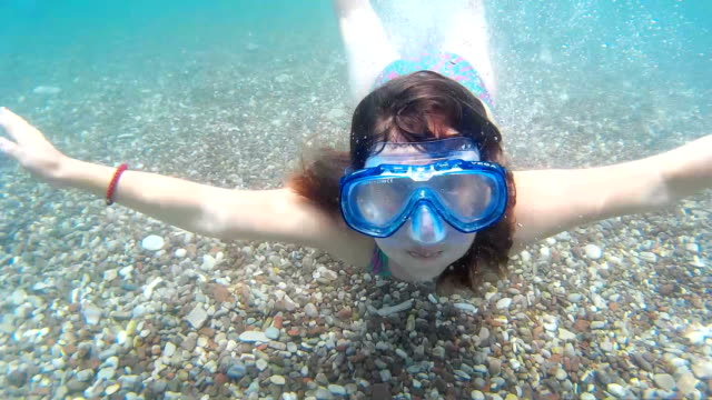 girl swimming underwater - swimwear stock videos & royalty-free footage