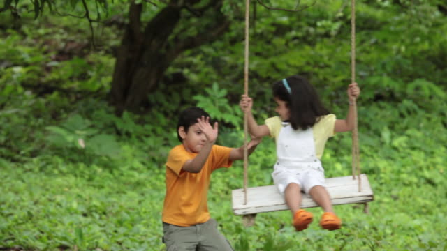 girl swinging in a park, malshej ghat, maharashtra, india - brother stock videos & royalty-free footage