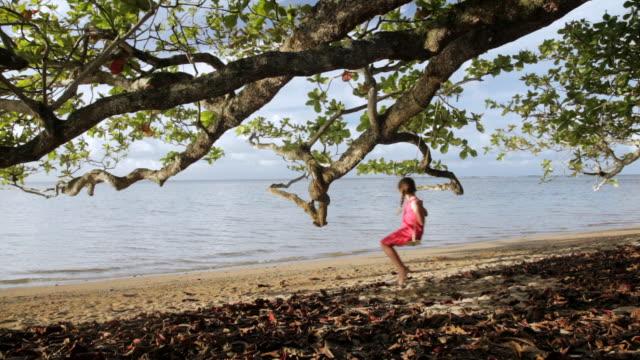 vídeos y material grabado en eventos de stock de ws girl swinging on tree at beach / anini, kauai, hawaii, usa  - columpiarse