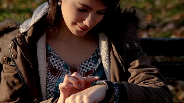 Girl  touching screen generic design smart watch