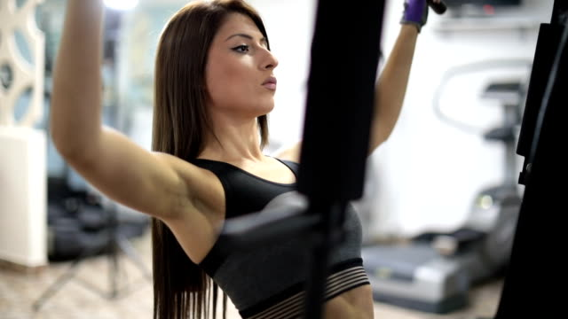 girl training hard - exercise machine stock videos & royalty-free footage