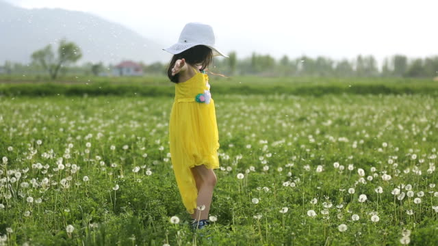 Girl Twirling With Dandelion Seeds