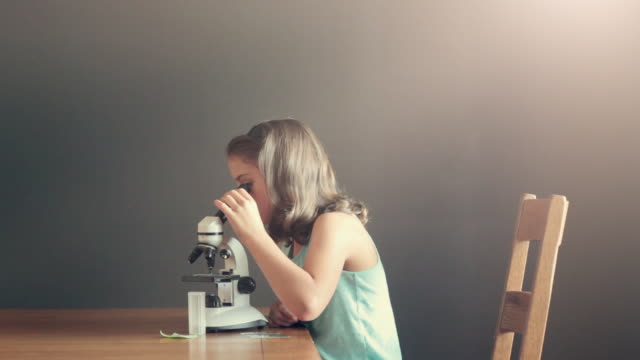 girl using microscope - finding stock videos and b-roll footage