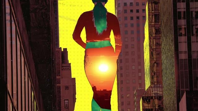 ニューヨーク市で歩く女の子 - デジタル合成点の映像素材/bロール