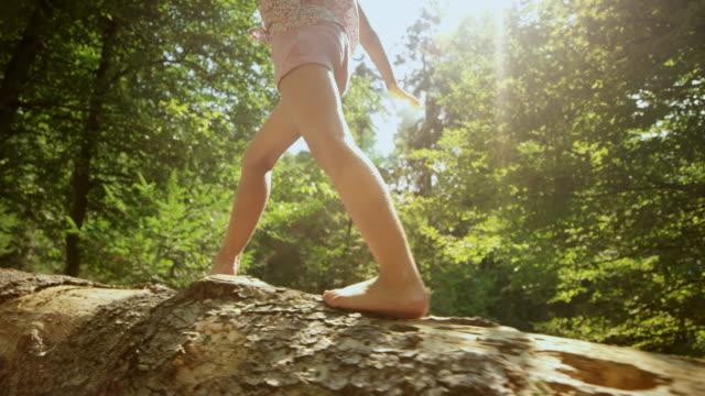stockvideo's en b-roll-footage met slo mo ts meisje lopen op een omgevallen boomstam in het zonnige forest - sunny