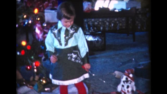 1960 girl wears Xmas cowgirl outfit