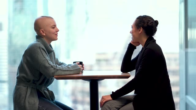 girl with cancer talking to a friend - chronic illness stock videos and b-roll footage