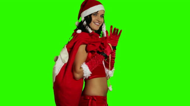 xmas girl with christmas sack - sack stock videos & royalty-free footage
