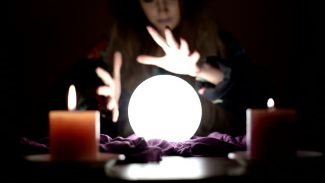 girl with crystal magic ball - forecasting stock videos & royalty-free footage