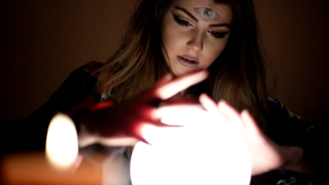 girl with crystal magic ball - crystal ball stock videos & royalty-free footage