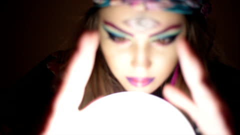 girl with crystal magic ball - luck stock videos & royalty-free footage