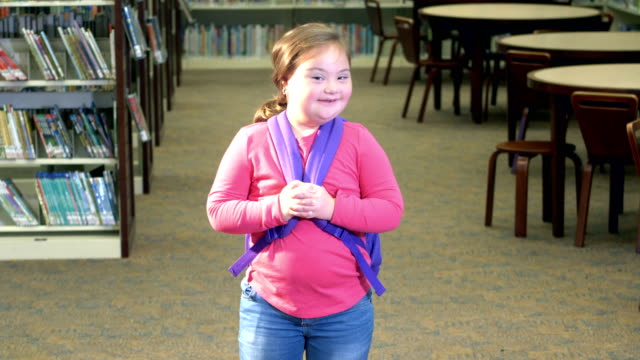 girl with down syndrome at school - first day of school stock videos & royalty-free footage