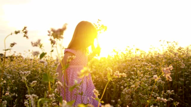 SLO MO Girl with flowers in field at sunset